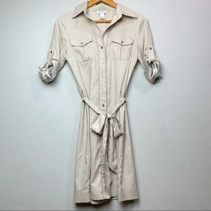 WHBM Belted Safari Button Up Dress